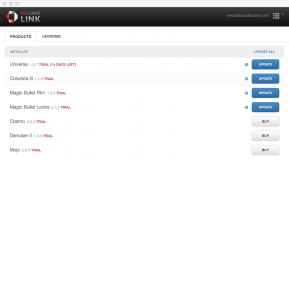 Screenshot of the Red Giant Link main window