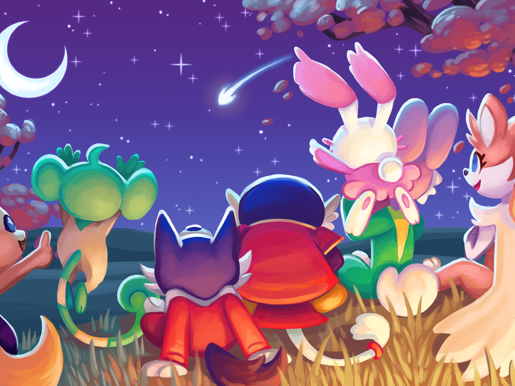 Image of several BrightSparc characters stargazing